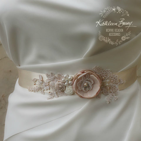 Emma Wedding dress sash belt - floral with lace - Blush pink ivory cream