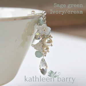 Christine earrings - Sage green or Off-white or Blush Pink - Rose gold, pale gold or silver