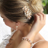 Nadine Floral leaf hair comb crystal & pearl - Rose gold, gold or silver - 7 pearl colors