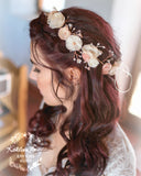 Nicci Bridal flower crown wreath - colors to order - Rose Gold - muted colors