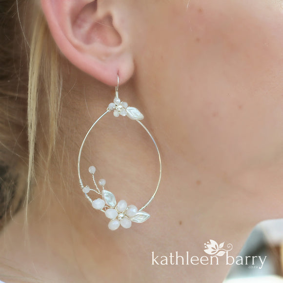 Quinn floral hoop earrings small - color & metallic options available (two sizes)