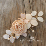 Audrey hairpiece - sculpted fabric flowers - Assorted colors, Rose gold, pale gold or silver