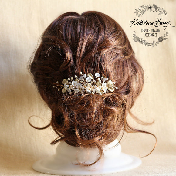 Nadine Delicate Gold Leaf Pearl Crystal Bridal Hair Comb - Colour Options available