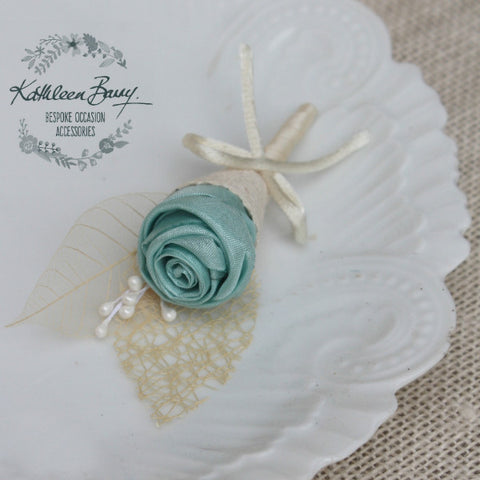 Boutonniere or corsage - lapel pin - Aqua mint - color options available