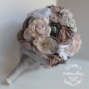 Heirloom Bridal Bouquet - Shades of dusty pink, mauve, and greys