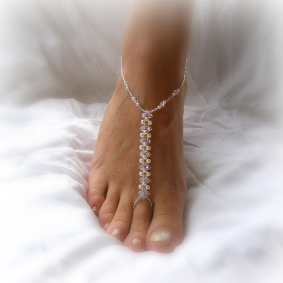 Barefoot Jewelry, crystal & pearl, rose gold, silver or gold - style 002 (Pair)