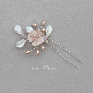Bespoke blossom hair pin - assorted colors available - Detailed images still to be loaded