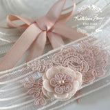 Joelle Garter ivory with flower detail and lace - color options available