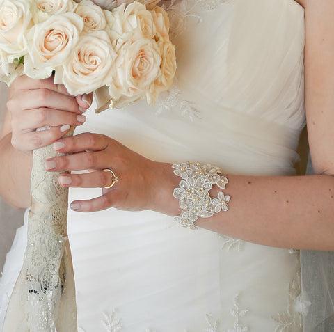 Lace cuff bracelet - bridal wedding lace cuff crystal and pearl embellished - wedding accessories