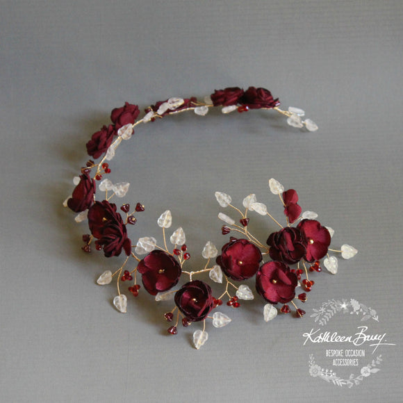 Wendy Burgandy gold flower crown / headband - Bride hair wreath
