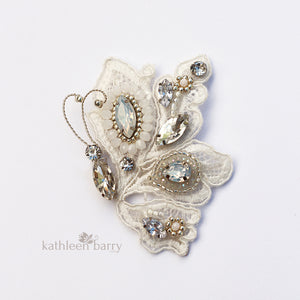 Carol-Ann Butterfly lace hair clip - Rhinestone and crystal beaded embroidery - custom colors available