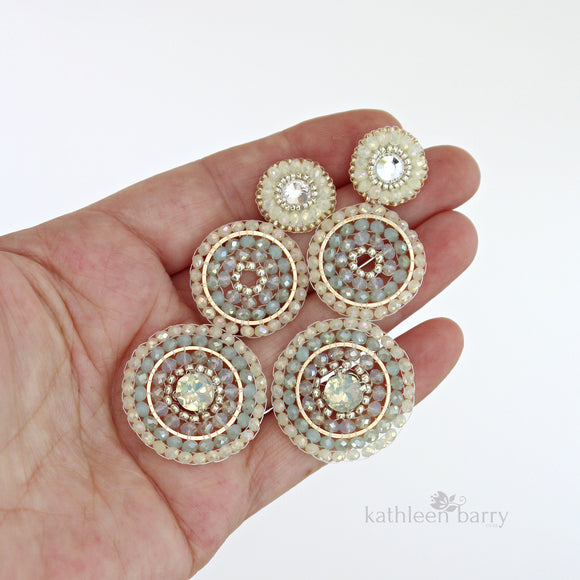 Modern statement chandelier earrings - beaded rings - colors to order