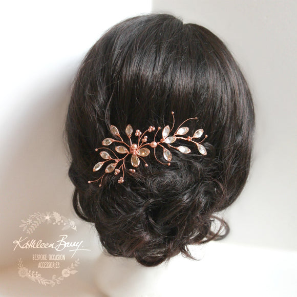 Marelize leaf hair pin copper rhinestone - rose gold or silver