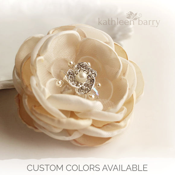 Hair flower - dual purpose, hair clip and brooch attachment - various color options & sizes  Rhinestone crystal & pearl detailing