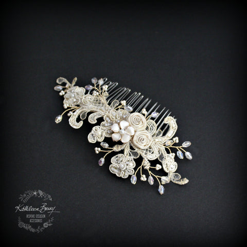 Lace hairpiece vintage bridal wedding hair comb gold - cream colors to order - off white, cream, blush pink - veil comb option