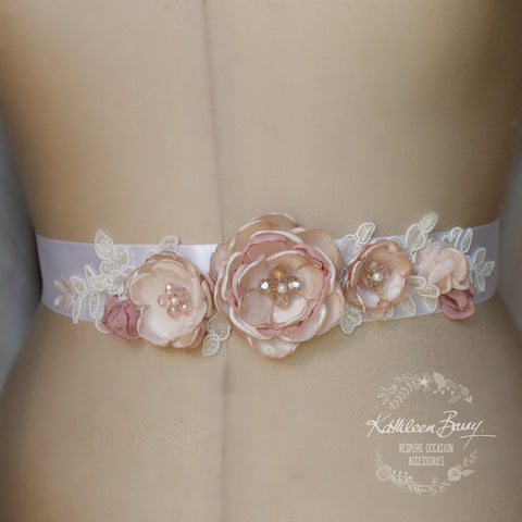 Leah Wedding dress sash belt - floral with lace - Blush pink and dusty pink - bridal accessories
