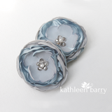 Dusty blue hair flower or brooch - Bride, flower girl, bridesmaid, mother of the bride or groom gifts
