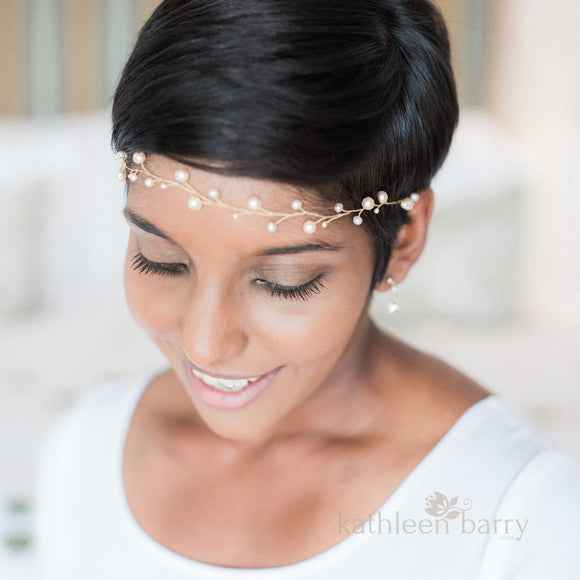 Cherize Bridal Pearl Hair Vine - Bridal wreath - Gold, silver, rose gold options