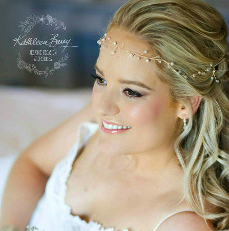 Ethereal Golden Bridal wreath - Crystal & or Pearl - gold bridal wreath - hair vine