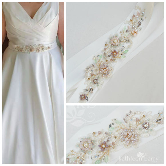 Evi Wedding dress sash / belt - Shades of lilac, dusty pink gold & sage - Color customization available