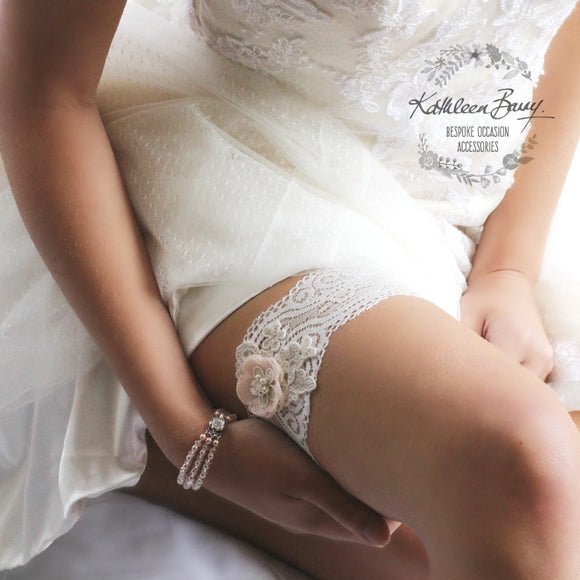 Blush pink Garter  - wedding bridal accessories - Bridal lace - Ivory and blush pink