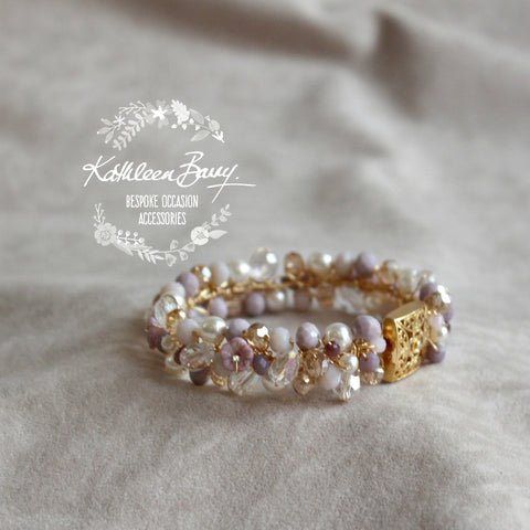 Jackie Lilac Plum Lavender Gold Bridal bracelet - Crystal pearl - wedding accessories jewelry