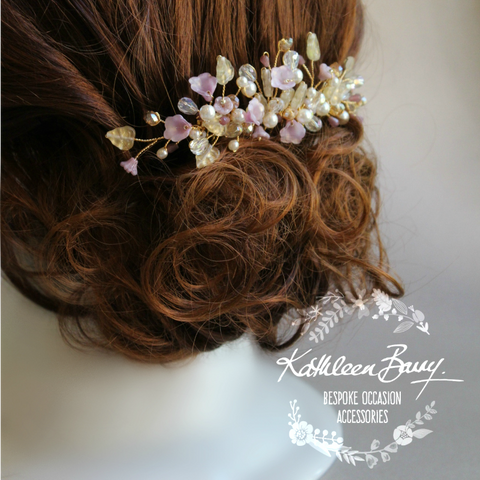 Jackie Bridal Hair Comb - Lavender Plum Gold - Wedding Accessories