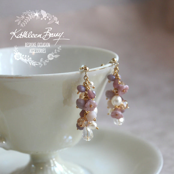 Jackie Lilac Plum Gold Bridal Cluster Earrings - Crystal and pearl - Wedding accessories