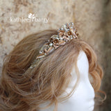 Amy Golden bronze botanical crown with rhinestones and pearls - Colors available