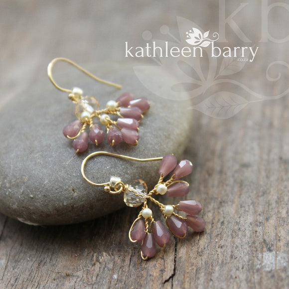 Aratani earrings - color options available - Mauve and Champagne