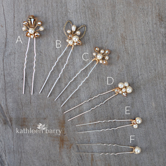 Danita hair pins (simple styles) assorted styles mix and match - assorted finishes available (prices vary)