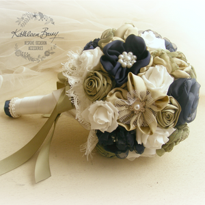 Heirloom Bridal Bouquet, navy blue, avocado khaki green - colors to order