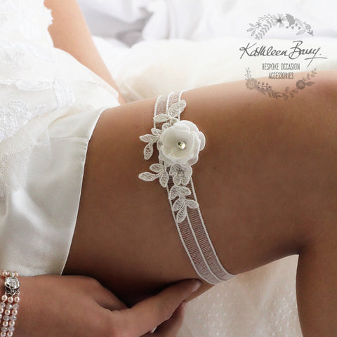 Melanie Garter ivory with flower detail and lace - color options available