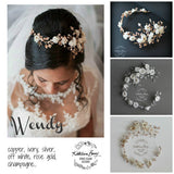Wendy Silver off white flower wedding headband bridal floral wreath crown