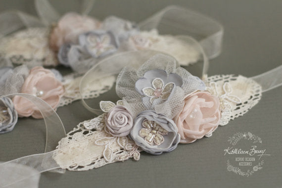 Blush Grey Wrist Corsage Lace fabric flowers