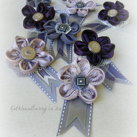 Boutonniere or corsage - lapel pin - blue grey