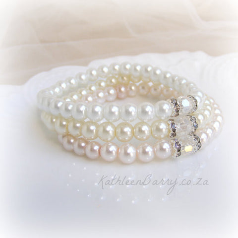 Pearl Stacking Bracelets - Bridesmaid gift - crystal and Rhinestone detail sold per each
