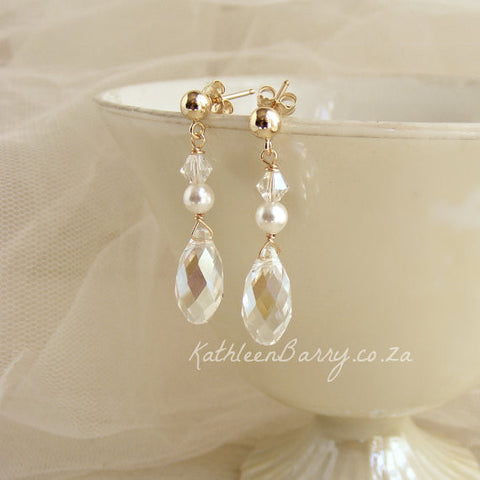 Kate Earrings Gold, Crystal drops with pearl detail - Gold or silver available