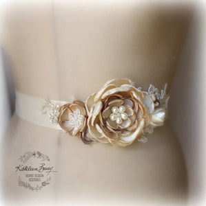 Cafe Latte Wedding Dress sash - Belt - floral bridal sash