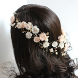 Melissa Bridal crown blush pink and ivory, rose gold toned, flower crown / wreath