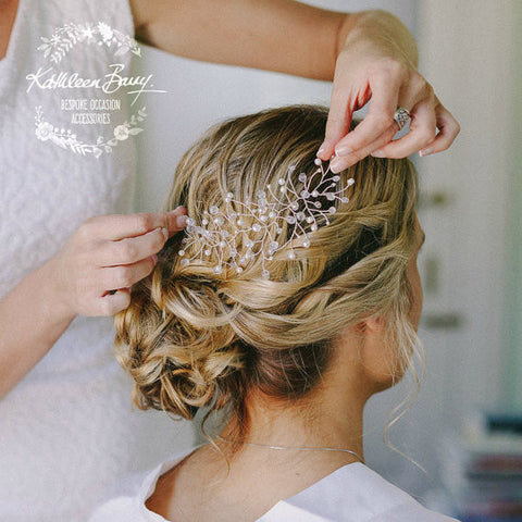 Olivia Bridal Hair Piece comb - Crystal & or Pearl - Color options silver or gold, pearl options, white, ivory soft pink/blush