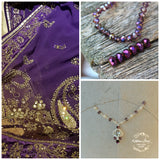 "Custom order for Priya - Crystal and pearl ""indian Bride"" head chain and earring set"