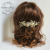Jelani Gold Bridal Hair Comb dainty, crystal, pearl - wedding hair accessories veil comb