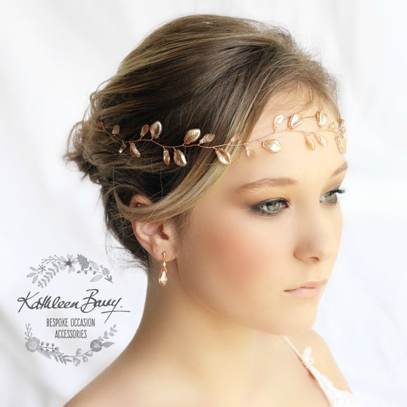 Jaune metallic leaf hair vine, wreath - Custom colors to order are Rose gold, gold, Silver