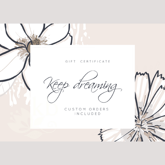 Gift certificate personalized - Bridal shower gift idea - COLORS AVAILABLE - Choose your amount starting FROM: