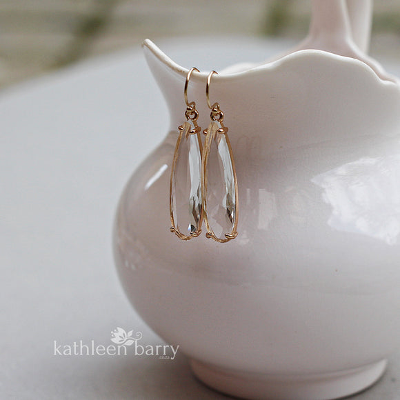Kendra facetted clear drop gold earring - gold finish only