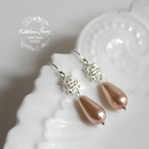 Pink Lulu sterling silver pearl drop wedding bridal earrings - dainty pearl earrings
