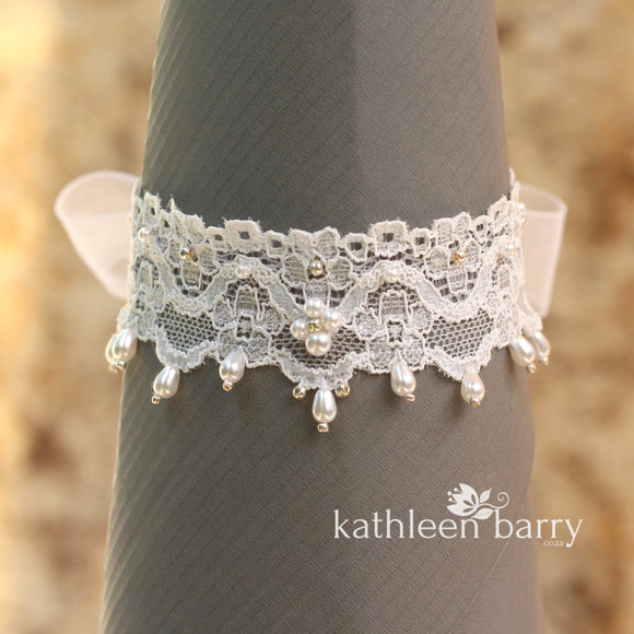 Heather lace cuff anklet, barefoot jewellery - finish options available