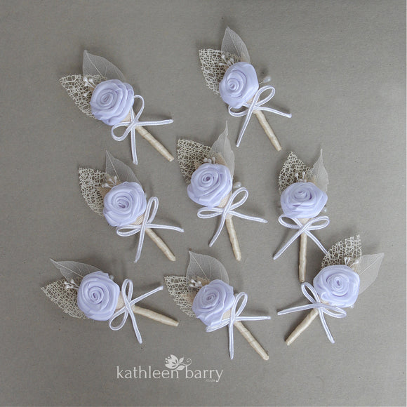 Boutonniere or corsage - lapel pin - Ivory cream - color options available - everlasting