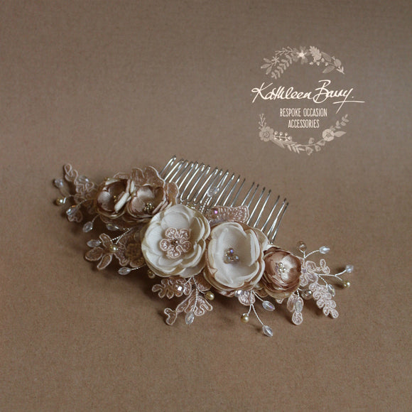 Linda Floral Cafe Latte Lace Bridal Hair Veil Comb, Luxury handmade Flowers, Crystals & Pearls